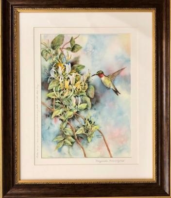 "Anita Seitz ""Honeysuckle Hummingbird"" watercolor"