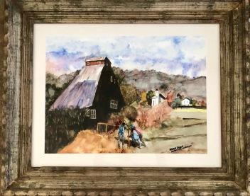 """Bradley Kaskin """"Farm Hands"""" watercolor"""