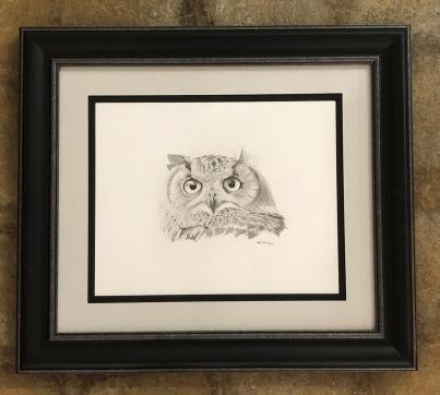 "Mark Thomas ""Great Horned Owl"" graphite"