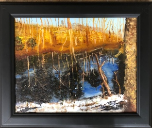 "Michael Brown ""Pond in Winter"" oil"